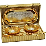 Gold Plated Bowl With Gold Plated Spoon And Gold Plated Tray (Set Of 5 Pics, Gold) With Gold Box Packing Exclusive Gift Items For Diwali Gift, Wedding Gift And Corporate Gift