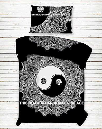 Handicraft Palace Yin Yang Ombre Mandala Coton Housse De Couette Taille Double Housse De Couette Et Taie D Oreiller Decoratifs De Tradition Parure De