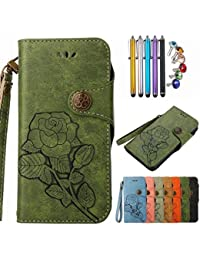 LEMORRY Nokia 5 Case Leather Wallet Cover Viewing-Stand Slim Fit Soft inner TPU Shell Bumper Protective Magnetic Closure with Hand Wrist Pouch for Nokia 5, Retro Roses (Green)