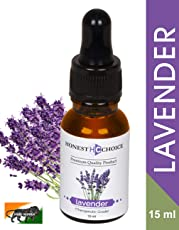 HONEST CHOICE Pure, Natural and Organic Lavender Essential Oil for Relaxation, Sleep, Tension Relief, Hair Growth, Skin Care - 15ml