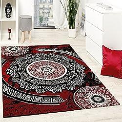 Paco Home Alfombra De Diseño con Hilo Brillante Motivos Estampado Rojo Negro Blanco, tamaño:60x110 cm