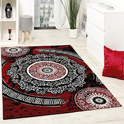 Paco Home Tapis Design avec Fil Brillant Motifs Classique Ornements Rouge Noir Blanc, Dimension:160x220 cm