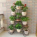 Blumenregal ZJM Eisen Stand-Flower Rack Flower Stand Indoor-Balkon Multi-Layer Flower Regal Wohnzimmer Platzsparende Blumentopf Rack Gartenregal (Farbe : Bronze, Größe : L)