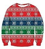 NEWISTAR Weihnachtspullover für Damen Funny 70s Schneeflocken Rot Pulli S