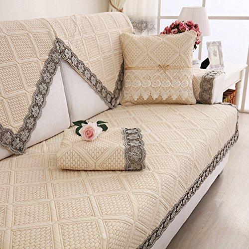 Nclon Baumwolle Sesselschoner Sofa-handtuch Sommer,Schonbezug Aus stoff Anti-schleudern Gesteppter Sofaschoner Sesselschutz 1 2 3 4 Sitzer-G 90x160cm(35x63inch)