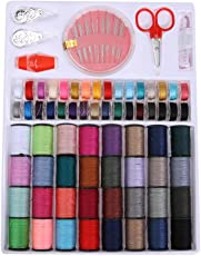 Slolved 100Pcs Sewing Kit Measure Scissor Thimble Thread Needle Storage Box Travel