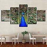 QFQH Farmework Leinwand Gemälde Home Decor HD Druckt 5 Stück blau Atemberaubende Pfau Bilder Tiere Poster für die Wand Kunst, Groß