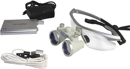 OUKANING Dental Lupenbrille Kopflupe Brillenlupe 3.5x420mm Vergrößerungsglas + Headlight