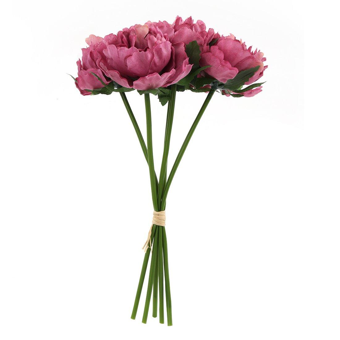 ABBQT, Flor de peonía Artificial de Seda, Tallo Largo, Flores de plástico Falsas para el hogar, jardín, Fiesta, Boda…