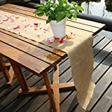 """TtS 10pcs 275X30cm (12x108"""") Natural Hessian Table Runners Rustic Burlap Sewed Edge Vintage Shabby Chic Wedding Table Decor Jute Outdoor Party Decor"""
