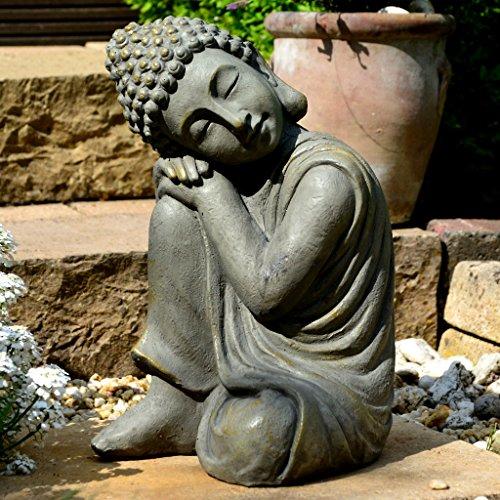 Garten Buddha in klasse Messingoptik aus Stein Statue Figur Skulptur Deko