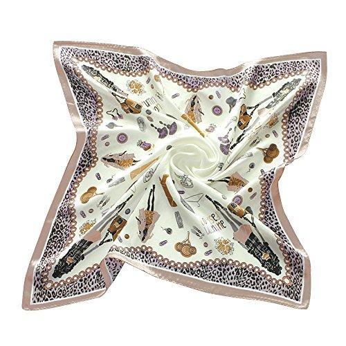Eizur Donna Stampato Seta Foulard Quadrato fazzoletto da collo Donne Piccolo Sciarpa Seta Vintage Bandana Collo Sciarpa Taglia 53*53cm