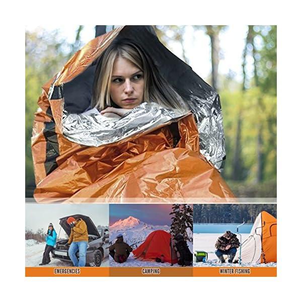 2 Premium Coperta di Sopravvivenza - Sacco a Pelo Coperta d'Emergenza Riutilizzabile, Isolamento Termico - Alta Visibilità, Portatile, Resistente - Viaggio Campeggio Montagna Trekking All'Aperto. 4 spesavip