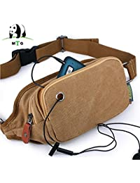 Buyworld Men Male Waist Bag Waterproof Canvas Multifunction Casual Men Fanny Waist Pack Male Small Bag Mobile...