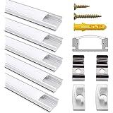 Profilé Aluminium LED, Jirvyuk de 5 x 1 Mètre V- Shape Profilés en aluminium pour LED Bande Lumières Avec Blanc Laiteux Couvercle, Embouts et Clips de Montage en Métal (Argent-02)