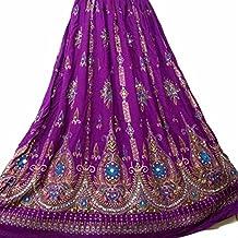 Señoras Indian Boho Hippie Gypsy falda larga de lentejuelas | Faldas de Bellydance | Mundo del bailarín (púrpura)