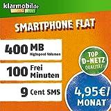 Klarmobil Smartphone Flat S mit 400 MB Internet Flat max. 21 MBit/s, 100 Frei-Minuten in alle deutschen Netze, 24 Monate Laufzeit, 4,95 EUR monatlich, Triple-Sim-Karten