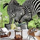 Guyuell Foto Wallpaper 3D Stereo Personalizzato Natura Zebra Playful Lotta Sfondo Tv Sfondo Camera Dei Bambini Carta Da Parati Murale-350Cmx245Cm