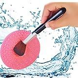 Silicone médical Brosse de Maquillage Cleaner-wash Tapis de nettoyage/récurer Pad/maquillage professionnel Brosse Nettoyage des outils 2pièces, et gratuit 1powder Puff- (Rose + Vert)