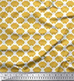 Soimoi Gold Baumwolljersey Stoff Blumen- Damast Dekor Stoff