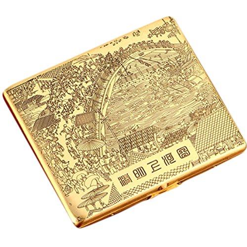 Riverside étui à cigarettes en cuivre Durable Exquisite Cig Holder Box(Golden)