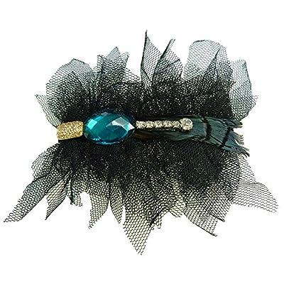 Pince à cheveux fins barrette gothique rétro tulle noir noire strass doré bleu turquoise cristal plume