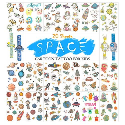 20 Blätter Halloween Temporäre Tattoos für Kinder Entfernbare Aufkleber Tattoo für Jungen Mädchen Kinder Tattoos Perfekte Party Tasche Füllstoff (Weltraum)