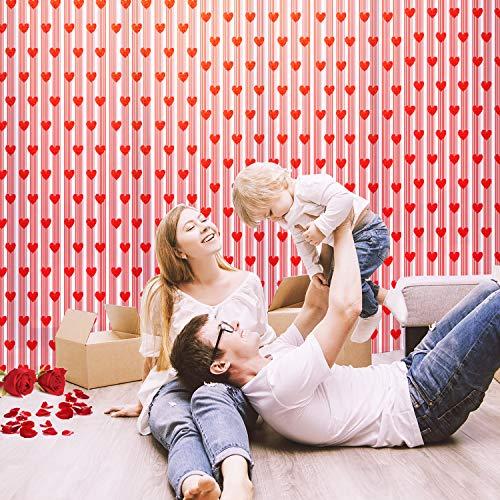 Fepito 2pcs tende da finestra per san valentino tende romantiche per cuori rossi tende in pizzo per decorazioni di nozze per san valentino