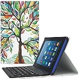 MoKo Funda Para Nuevo Amazon Fire HD 8 Tableta?8 pulgada, 7 ª Generación, modelo de 2017) - Cubierta inalámbrica del teclado de Bluetooth con el despertar / el sueño auto para All-New Amazon Fire HD 8, Álbo de la Suerte