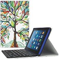 MoKo All-New Amazon Fire HD 8 Bluetooth Tastatur Hülle Keybord Case - Wireless Bluetooth Tastatur QWERTY Layout mit Auto Sleep/Wake up Funktion, Glück Baum