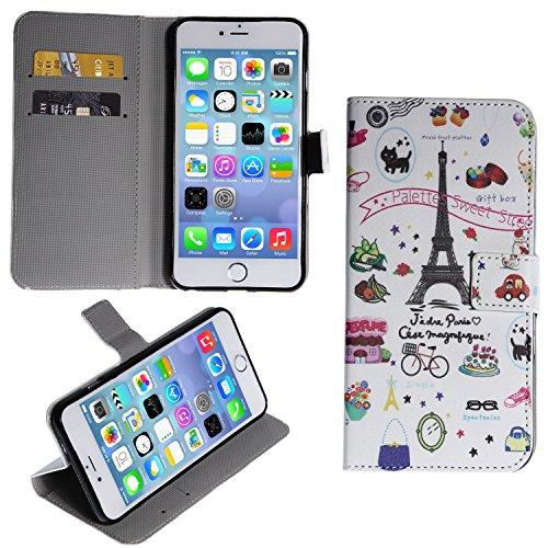 """wortek Flip Case Apple iPhone 6 Plus (5,5"""") Tasche Etui Magnetverschluss Standfunktion & Fächer für Karten Eule Weiß Grün Frankreich Paris Eiffelturm Weiß Bunt"""