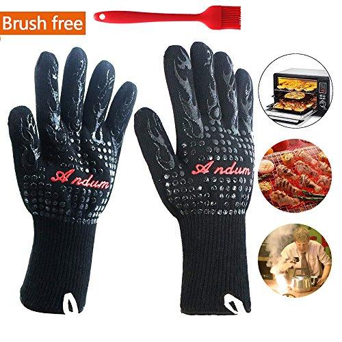 Guantes de horno resistentes al calor guantes de cocina (juego de 2) y cepillos de barbacoa de silicona, guantes de horno Fabricado con guantes de tela de Kevlar-Nomex, guantes de cocina para cocinar, guantes de chimenea extremadamente resistentes al calor, EN407 certificados Guantes de barbacoa (Negro)
