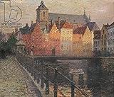 Poster-Bild 90 x 80 cm: 'Quai de la Paille, Bruges (oil on canvas)', Bild auf Poster