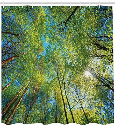 Long Blue Willow (Forest Home Decor Duschvorhang Evergreen Back Naturgebiet Mutter Erde Lime Trunk Mangrove Flora Willow Dekor Stoff Badezimmer Dekor Set mit Long Green Blue)