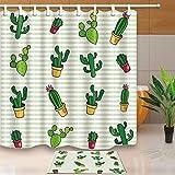 CDHBH Cartoon Topfpflanzen Kaktus 180,3x 180,3cm Schimmelresistent Polyester Stoff Vorhang für die Dusche Anzug mit 40x 60cm Flanell Rutschfeste Fußmatte Bad Teppiche