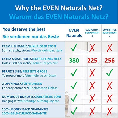 ... Rechteckiger Netzvorhang EVEN Naturals MOSKITONETZ Extra Groß Für  Doppelbett, Mückennetz Bett, Baldachin Bett, Rechteckiger Netzvorhang ...