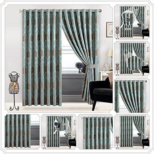 Jacquard-Ring-Vorhang mit vollständig gefüttertem Ösenband, 1 Paar Vorhänge für Schlafzimmer oder Wohnzimmer (167,6cm B x 182,9cm L) und (228,6cm B x 228,6cm L) + 2Raffhalter, Betty Nutmeg/Duck Egg, 2 x ( 66