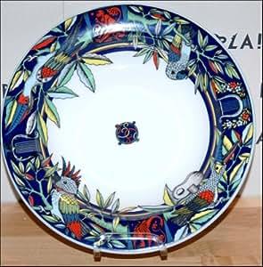 Bopla Parrots Assiette creuse en porcelaine avec motif perroquets Bleu
