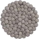 myfelt Carl Filzkugel-Topfuntersetzer, rund, Schurwolle, Grau, Ø 20 cm