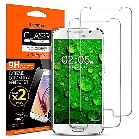 Samsung Galaxy S6 Panzerglas, 2 Stück, Spigen, Easy Install Kit, 9H gehärtetes Glas, Antikratz, Glas 0.33mm, Samsung Galaxy S6 Displayschutzfolie (524GL20254)