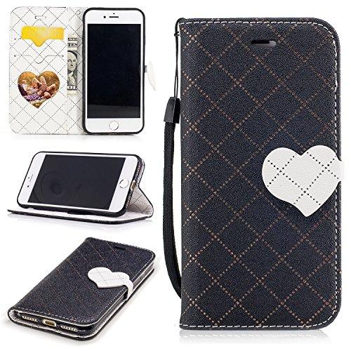 Para iPhone 7 7G (4,7 zoll) funda, (amor Negro) El amor golpeó el color de cuero de la PU Leather cubierta ,Función de Soporte Billetera con Tapa para Tarjetas correa de mano soporte para teléfono