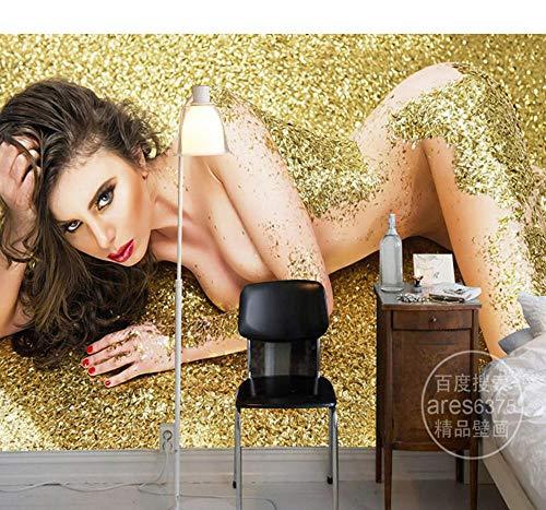 Fototapeten Goldene Nackte Frauen Tapete 3D Luxus Wandbild Schlafzimmer Fototapete Malerei Wohnzimmer Dekor Deckenkunst Dekoration-400X280Cm,Wandbilder