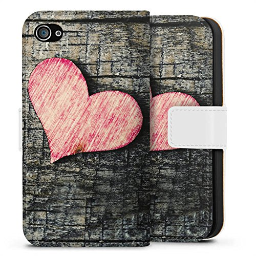 Apple iPhone X Silikon Hülle Case Schutzhülle Herz Love Holz Wood Sideflip Tasche weiß