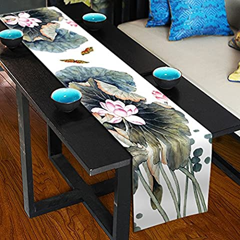 Lotus Table Runner Top Grade Velvety - MeMoreCool Rectangle Design All Seasons No Fading 13 X 95 Inch