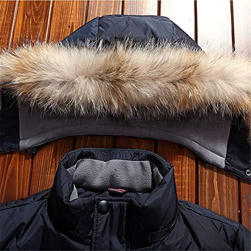 MAZF Winter Warme Lange Daunenjacke Mit Kapuze Pelzkragen Weiße Ente Daunenmantel Plus Blau M - 4