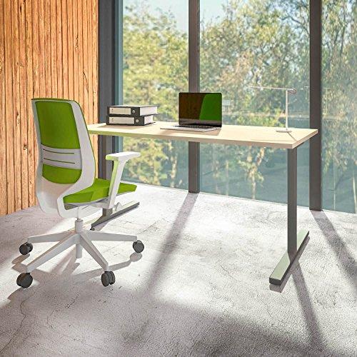 PROFI Schreibtisch 180x80cm T-EASY Ahorn Bürotisch Arbeitstisch Computertisch Büro, Gestellfarbe:Silber