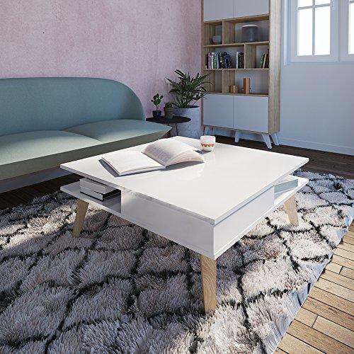 Symbiosis Table Basse 2 Tiroirs Pieds Inclinés Plat Laque Bois, Blanc, 89x36x89 cm