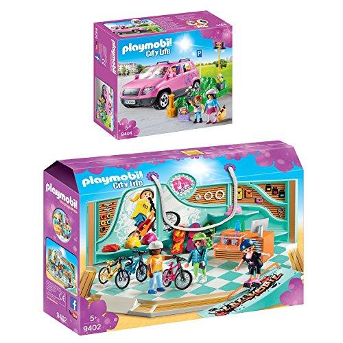PLAYMOBIL® City Life 2er Set 9402 9404 Bike & Skate Shop + Familien-Pkw mit Parkbucht