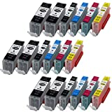 18 XL Druckerpatronen für Canon PGI570XL CLI571XL MIT CHIP und Füllstandanzeige für Canon Pixma MG5750 MG5751 MG5752 MG5753 MG6850 MG6851 MG6852 MG6853 TS5050 TS5051 TS5053 TS6050 TS6051 TS6052 kompatibel zu PGI570BK, CLI571BK, CLI571C, CLI571M, CLI571Y