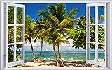 Strand Meer Palmen Karbik Urlaub Wandtattoo Wandsticker Wandaufkleber F0393 Größe 120 cm x 180 cm
